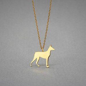 14K Gold Doberman Pinscher Necklace