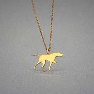 14k gold english pointer necklace
